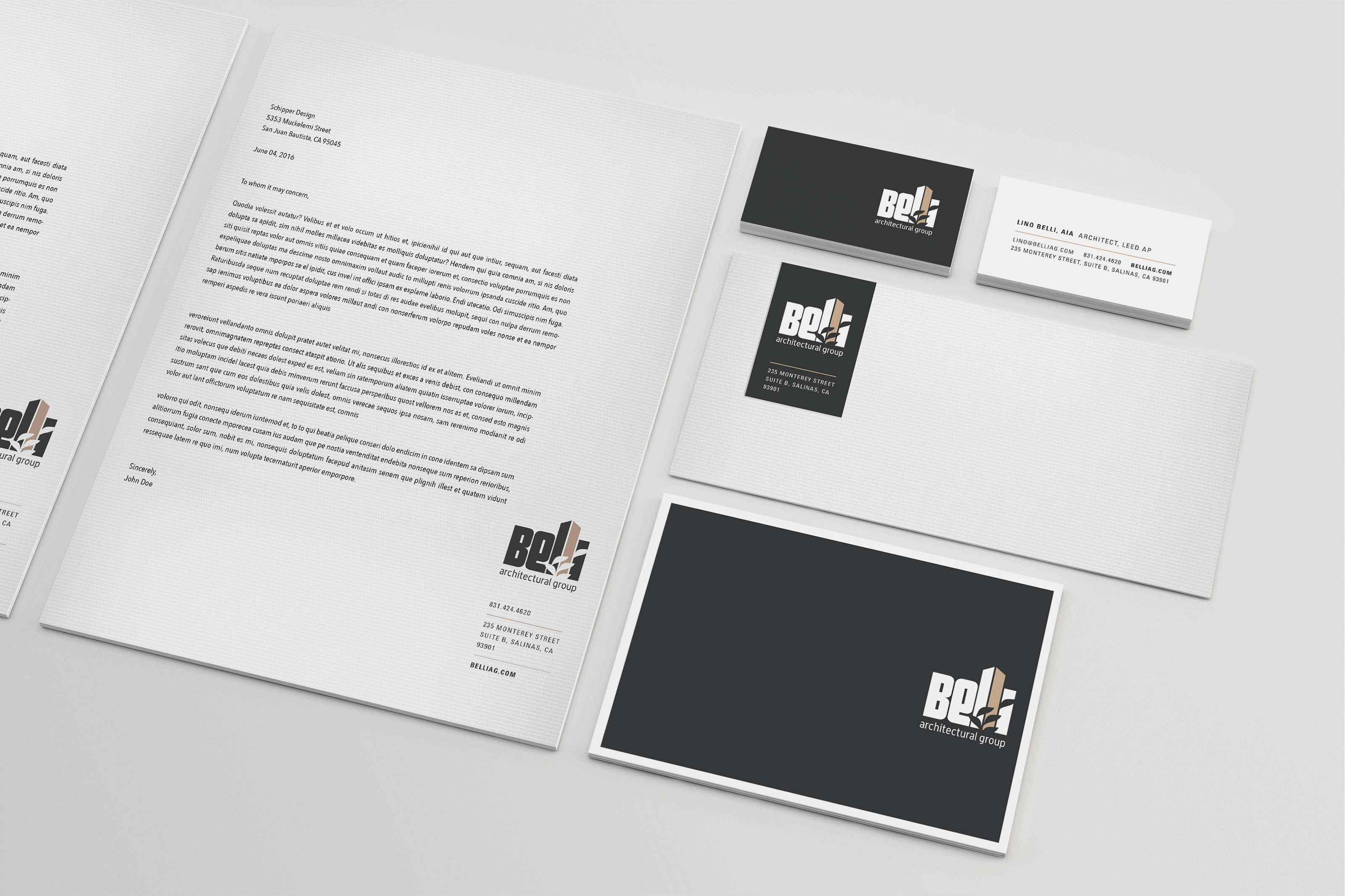 Belli Architectural Group Stationery, Business Cards, Letterhead Design
