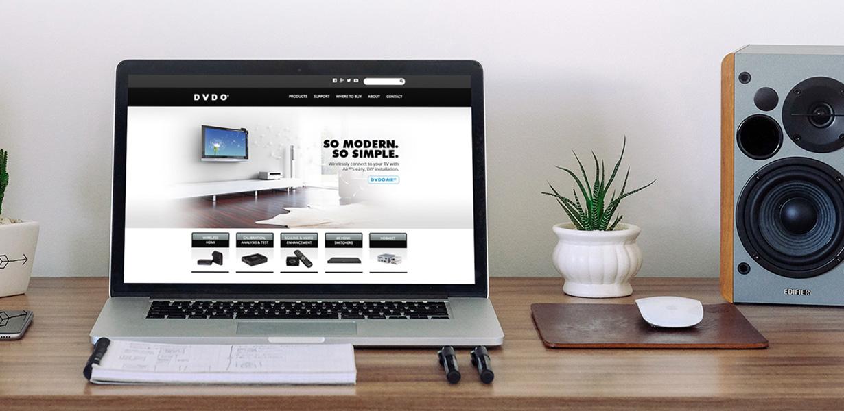 DVDO Website on Laptop