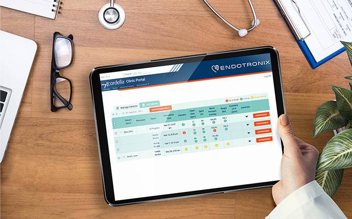 Endotronix Clinic Portal App on Tablet