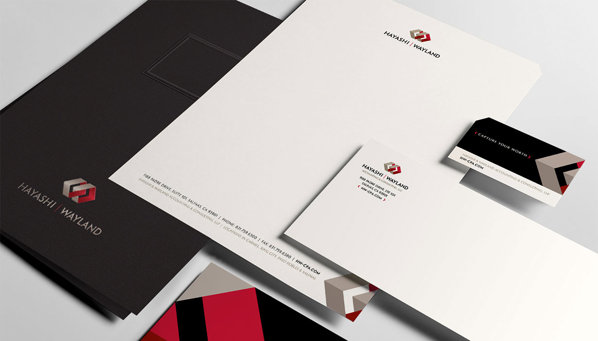 Hayashi Wayland Folder, Letterhead, Business Card, Envelope, and Notecard