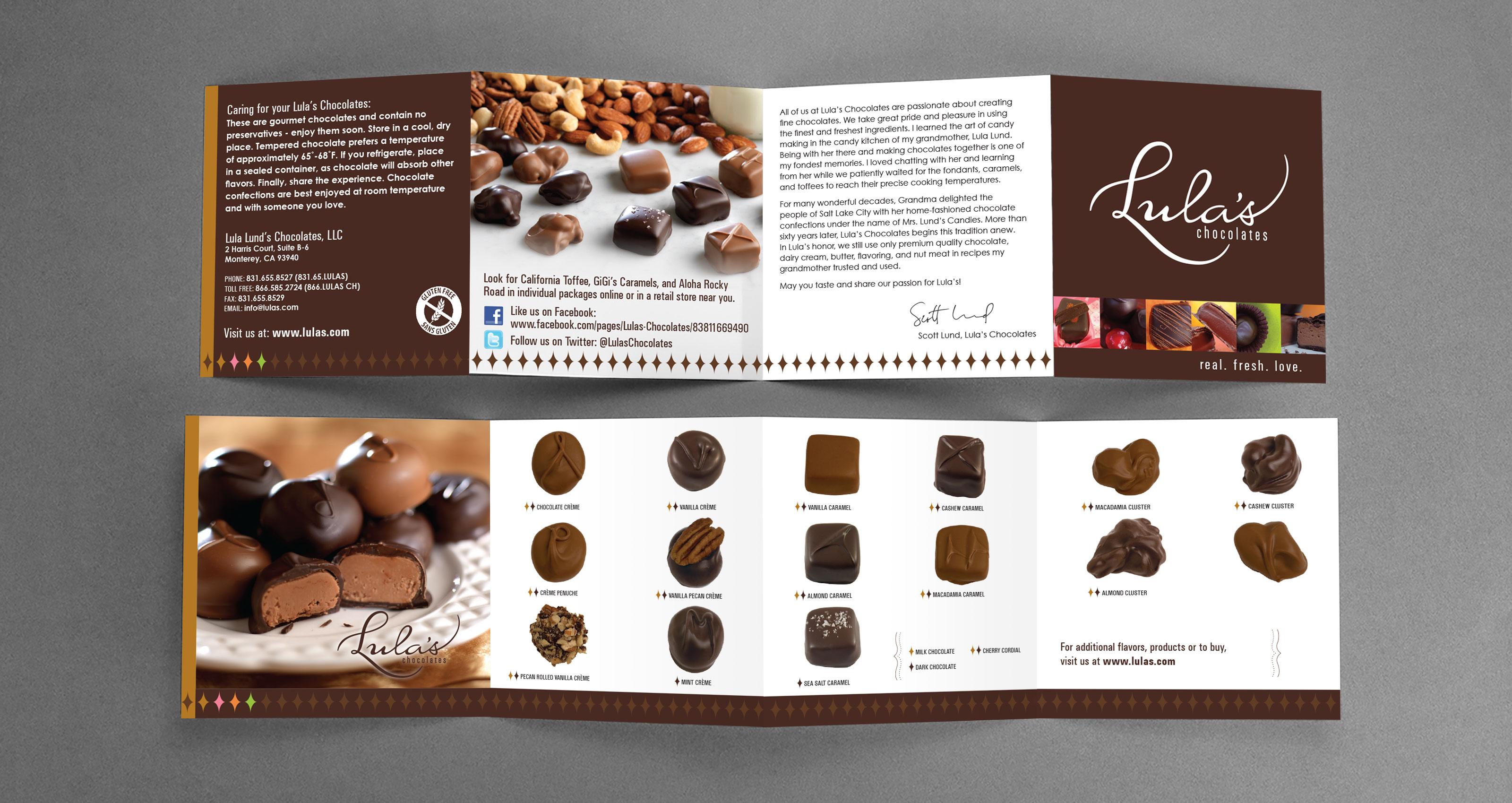 Lula's Chocolates Brochure Insert