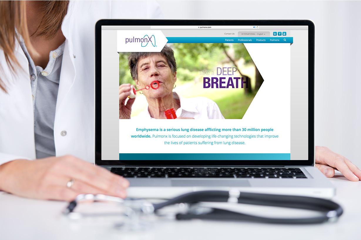 Pulmonx Website on Laptop