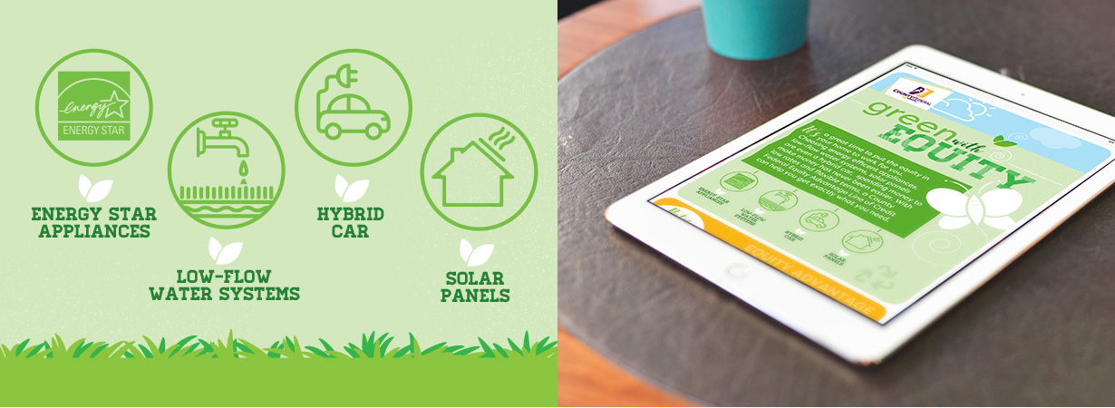 SCCFCU Green with Equity Promo Graphic and Eblast on Tablet