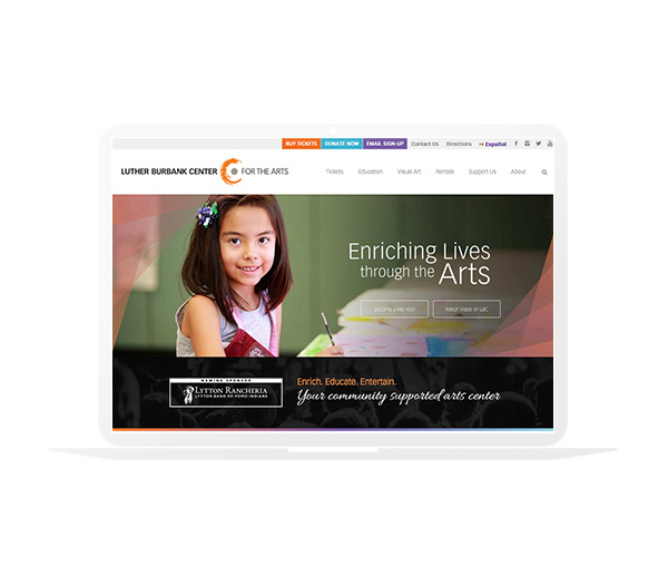 Luther Burbank Center for the Arts Website Homepage