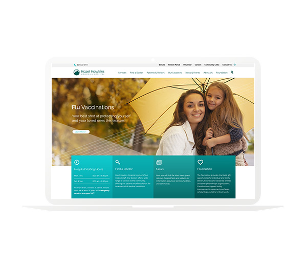 Hazel Hawkins Hospital Website Homepage