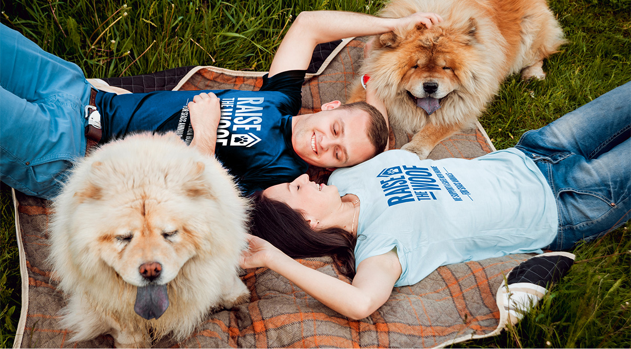 SF Animal Care and Control Raise the Woof T-Shirts on Couple with Dogs