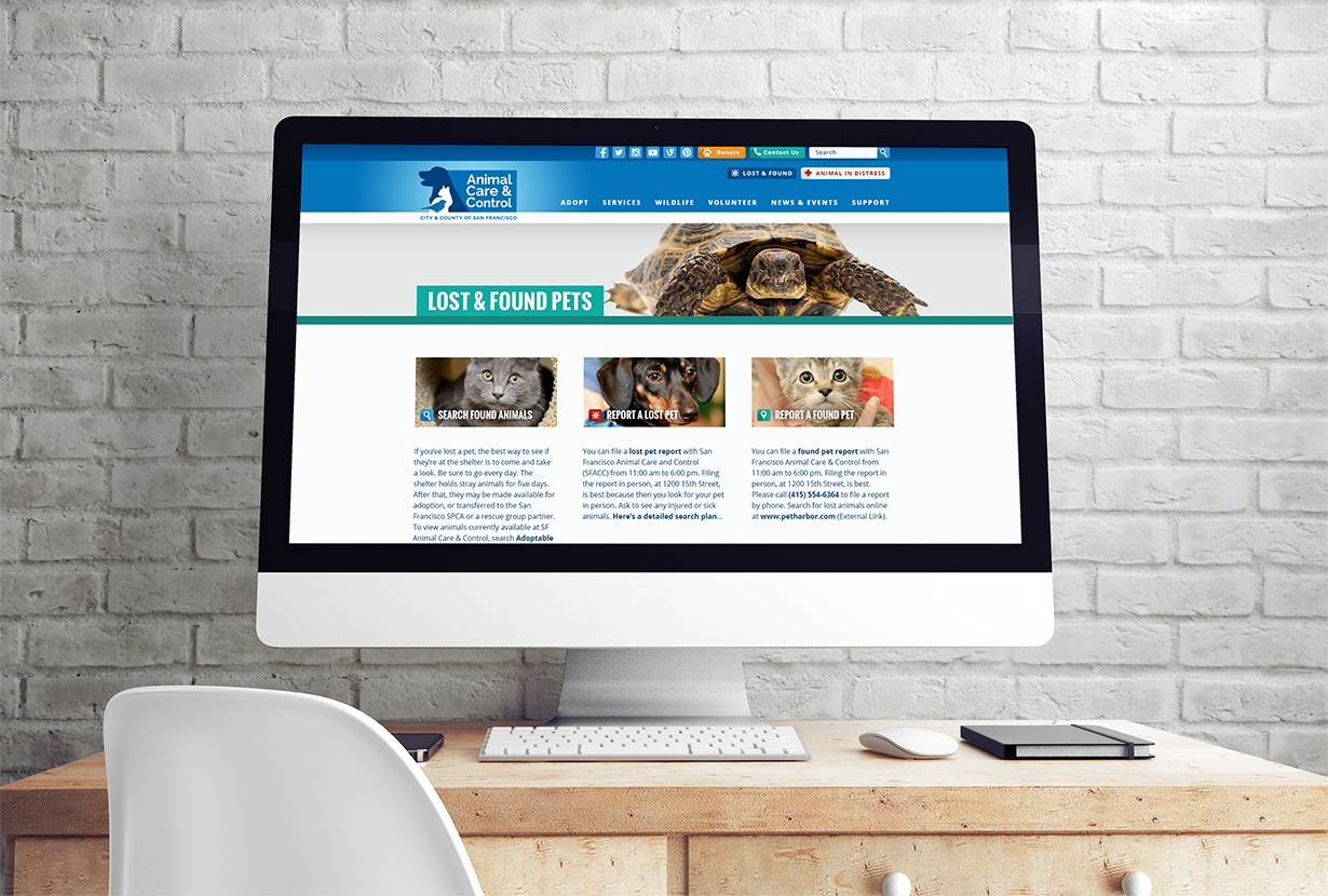 SF Animal Care and Control Website on Desktop Computer
