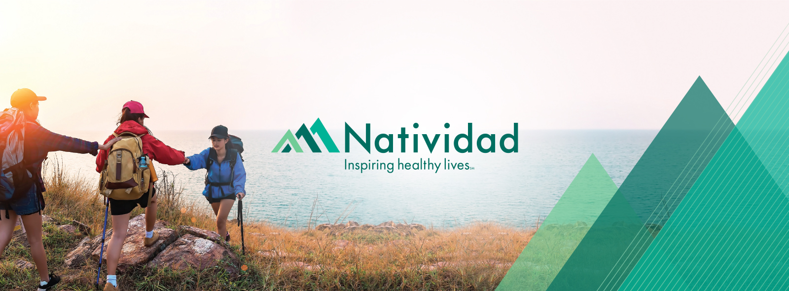 Natividad banner with people hiking