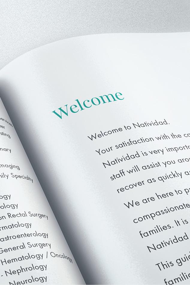 Natividad Patient Handbook welcome page