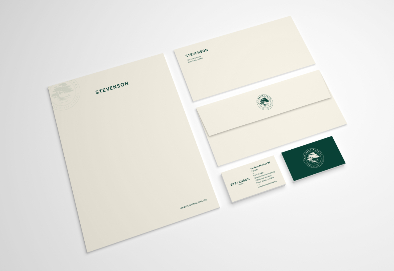 Stevenson school Stationary letterhead, envelopes and business cards