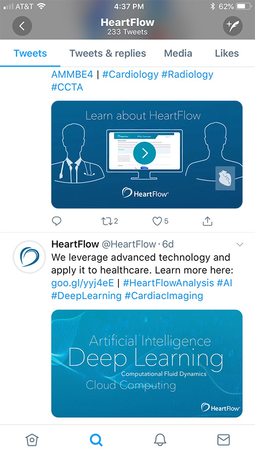 Heartflow Twitter feed