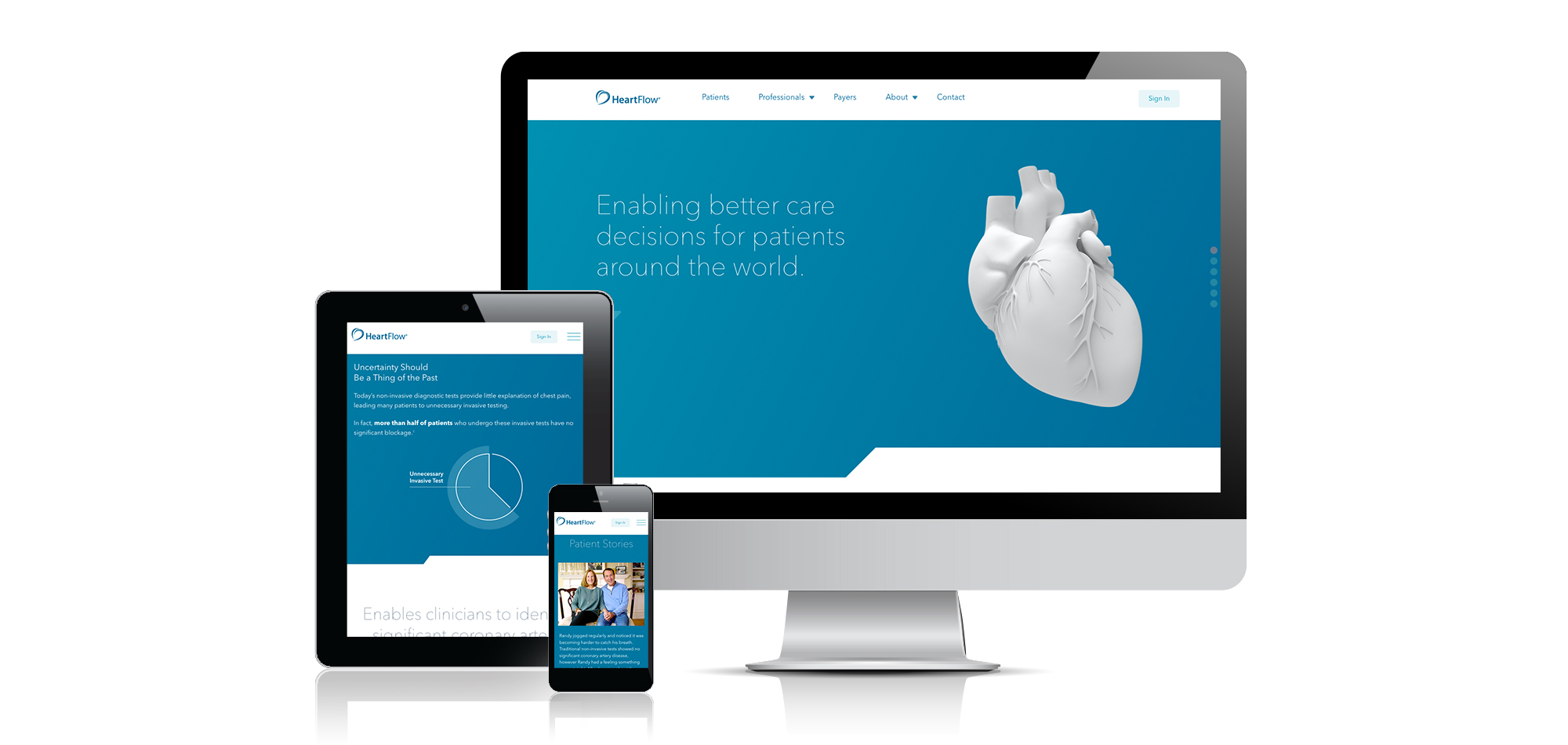 Heartflow website on desktop, tablet and mobile