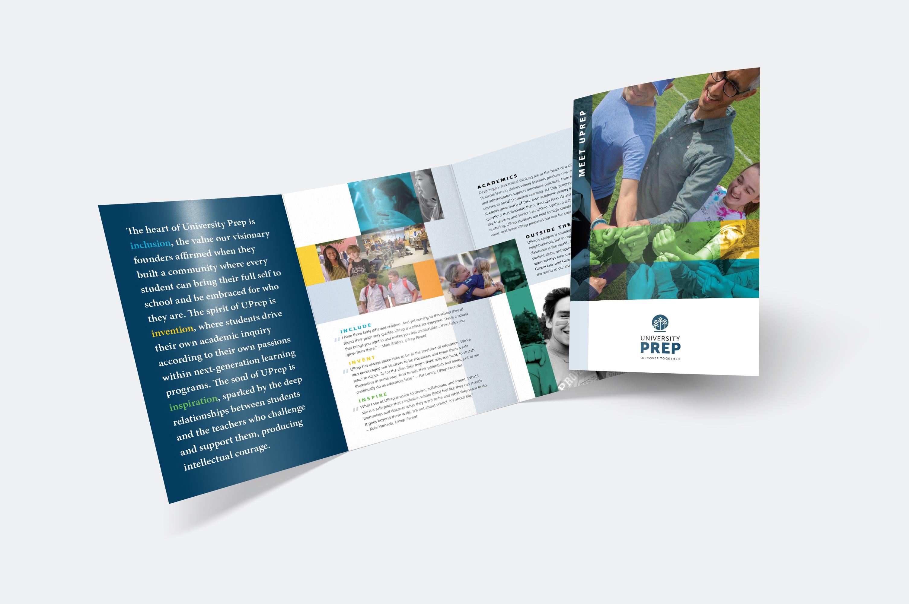 University Prep tri-fold brochure