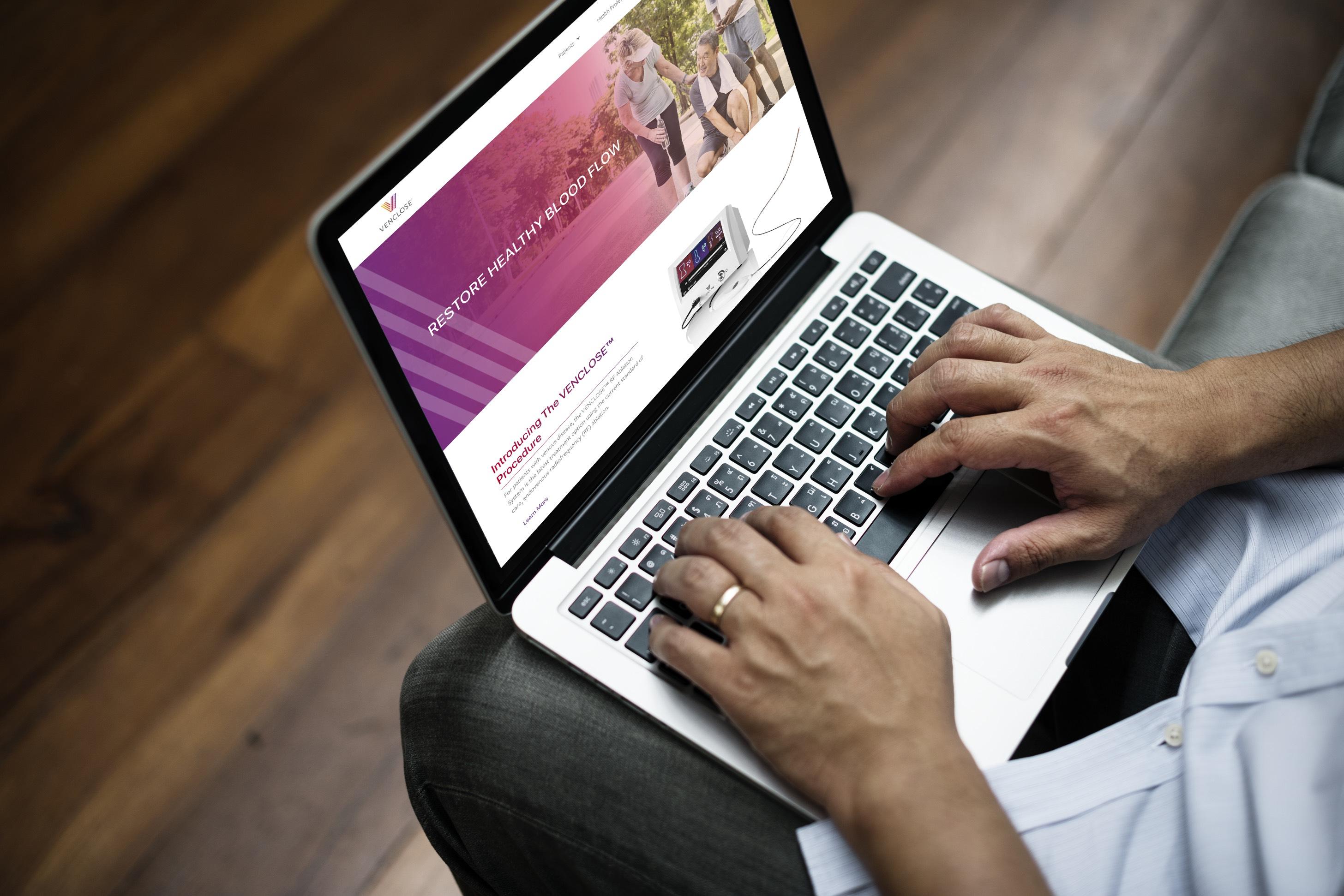 Venclose Website on Laptop