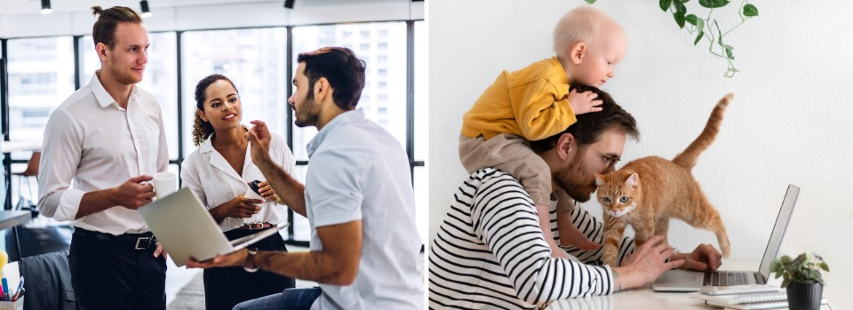 Before with teammates in office, After with kid on shoulders and cat on laptop