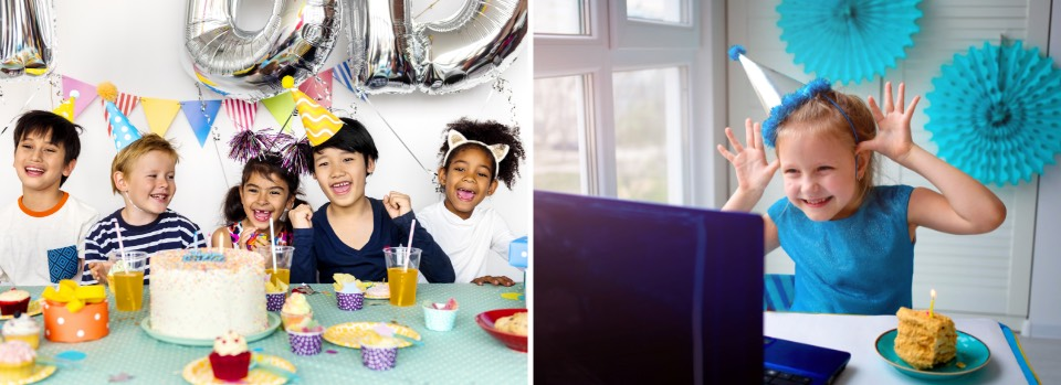 Birthday party with kids at table, birthday party with kid by herself in front f computer