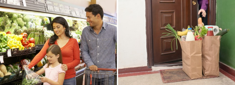 Before buying groceries, After contactless delivery at doorstep
