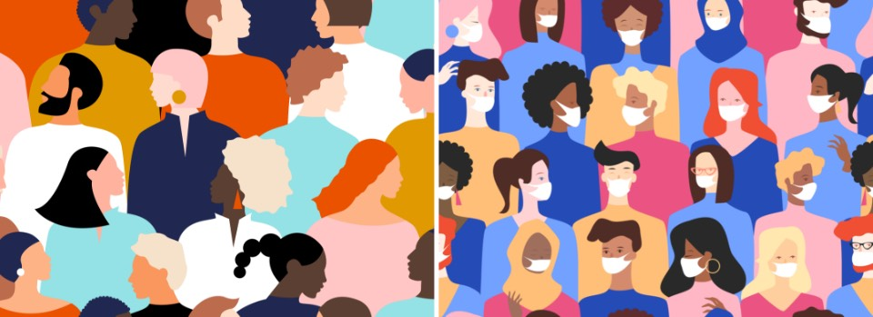 Stock illustration of people, vs stock illustration of people with masks