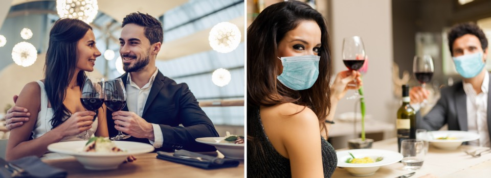 Before, sitting close at the table, After - wearing masks across from the table