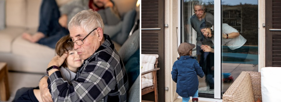 Before, hugging grandpa, After - saying hi through the window