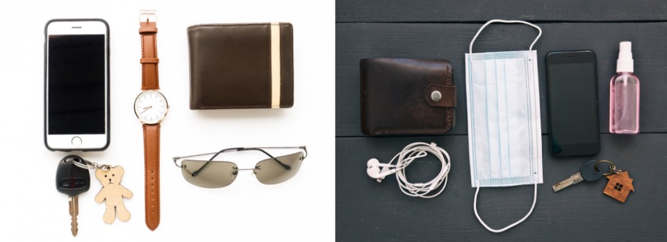 Before COVID featuring smart phone, watch, keys, wallet, sunglasses AFTER COVID-19, wallet, earbuds, smart phone, keys, mask and sanitizer