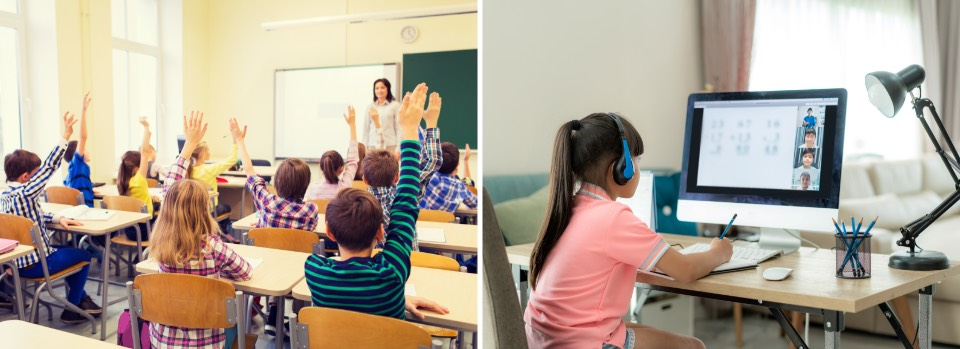 Before - stundents fill a classroom in person, After - distance learning