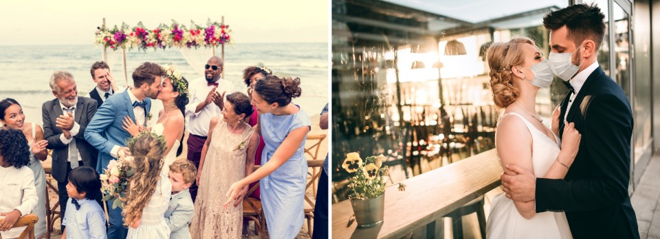 Wedding with guests on the beach, wedding with just the couple