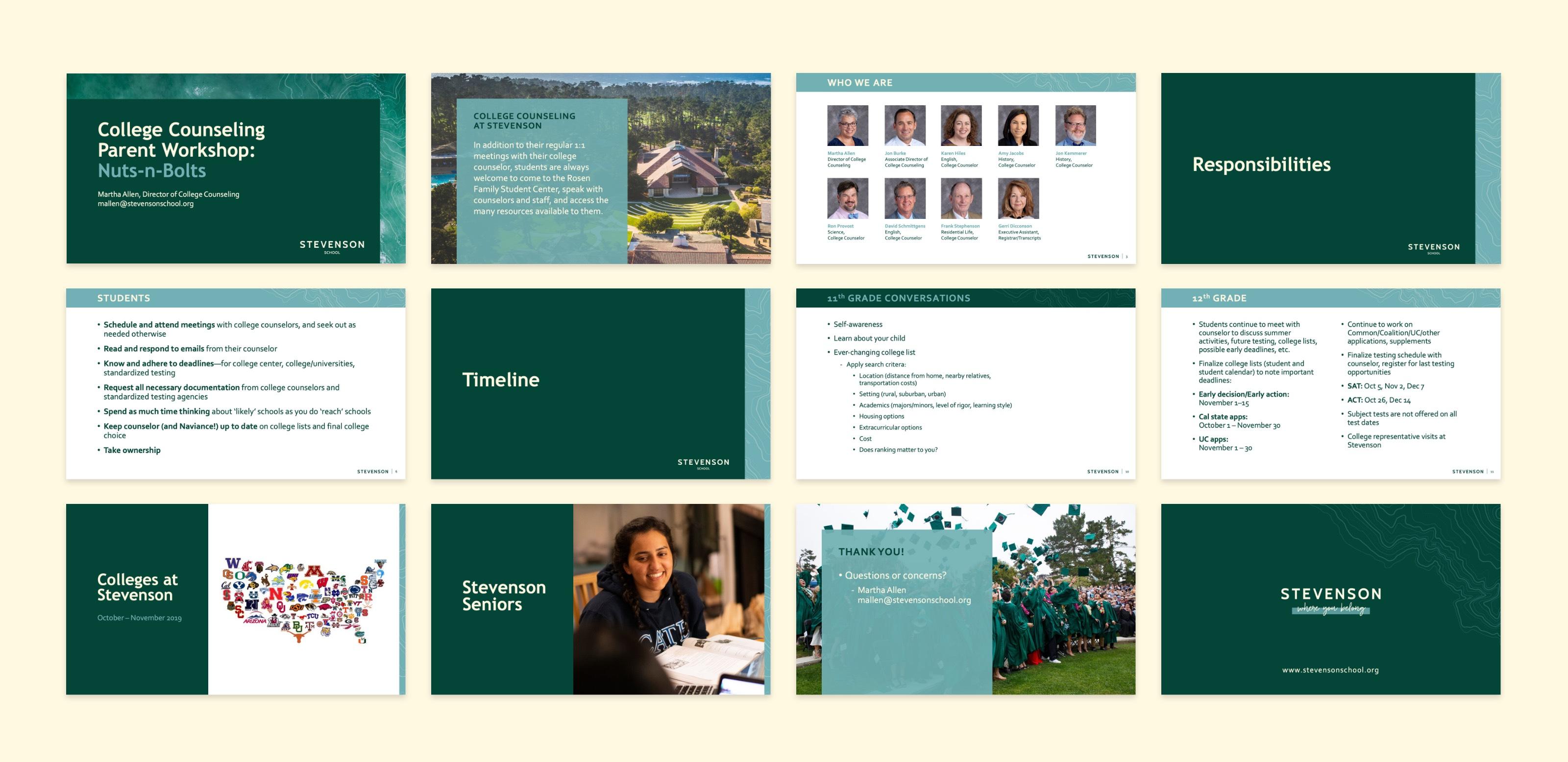 Stevenson School PowerPoint Presentation Design