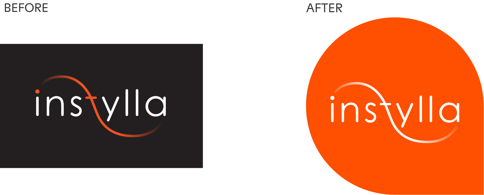 Instylla logo before and after