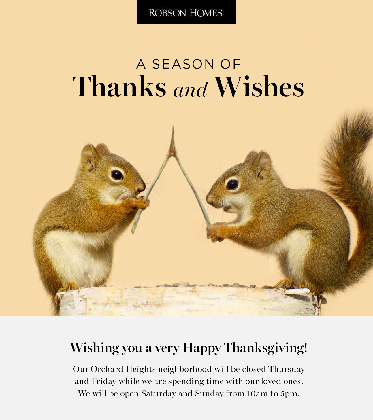 Robson Homes Thanksgiving Email 2020
