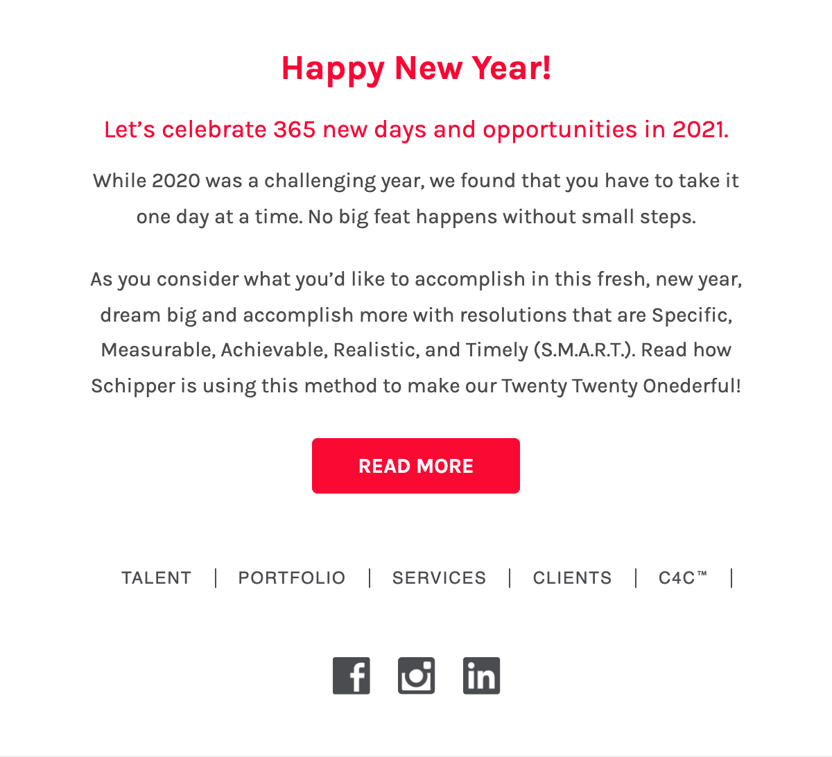 Schipper New Year Email Body and Footer