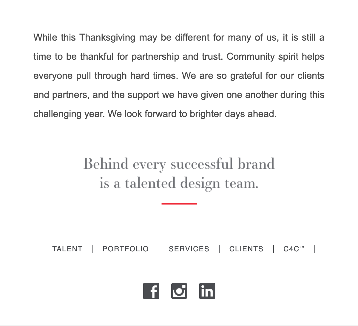 Schipper Thanksgiving Email Body and Footer